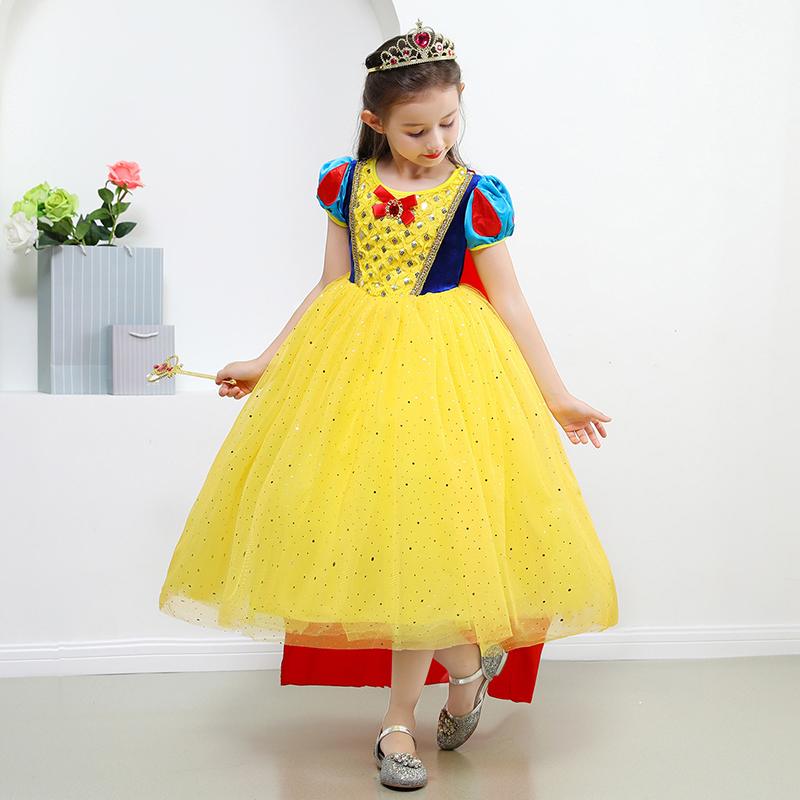 Kids Girl Snow White Princess Dress Toddler Party Cosplay Mini Dresses 2-7 Years
