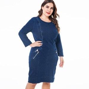"""Image 5 - ח""""כ 2019 חורף נשים בתוספת גודל ג ינס שמלת אופנה גבירותיי בציר ארוך שרוול סתיו midi שמלה"""