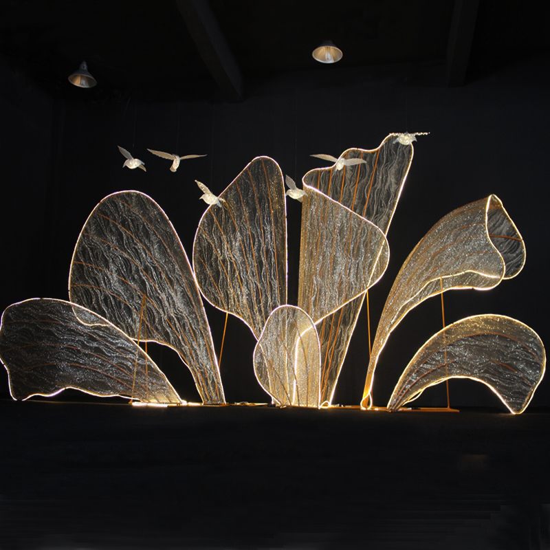 Wedding props gauze iron petals with LED light stage shopping event wedding background decoration