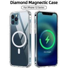 Магнитный Прозрачный чехол для iphone 12 pro max mini pc + tpu