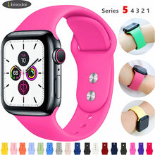 Spor kayış Apple Watch için 5 bant 44mm 40mm iwatch bileklik 42mm 38mm silikon kordonlu saat kemer bilezik apple iphone 4/3/2/1 44 42 38(China)