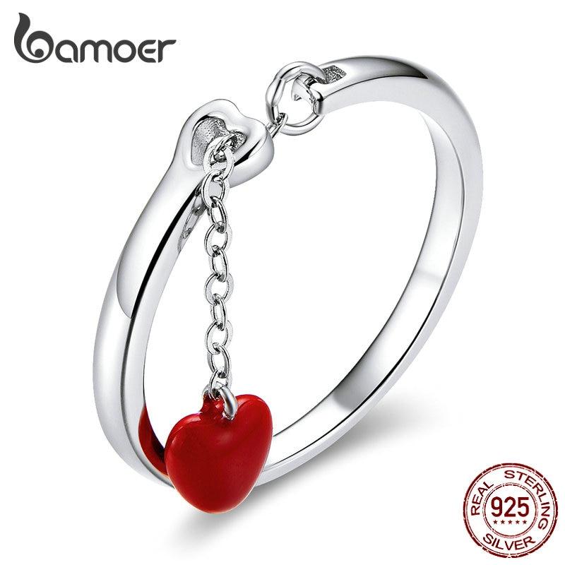 Bamoer Authentic 925 Sterling Silver Red Enamel Heart Chain Finger Rings For Women Love Gifts For Girl Adjustable Bijoux SCR627