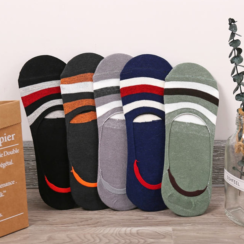 Silicone Non-slip Invisible Socks Men's Cotton Socks Ultra-thin Shallow Socks Breathable Summer Boat Socks For Student Male