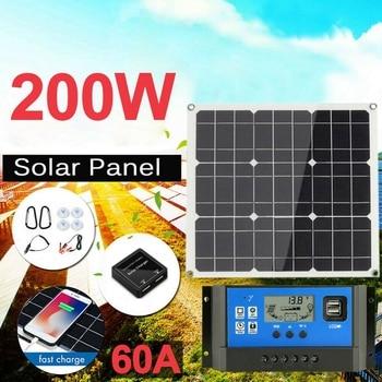 200 Watt 200W Solar Panel Kit with LCD Solar Controller 12V RV Boat Off Grid