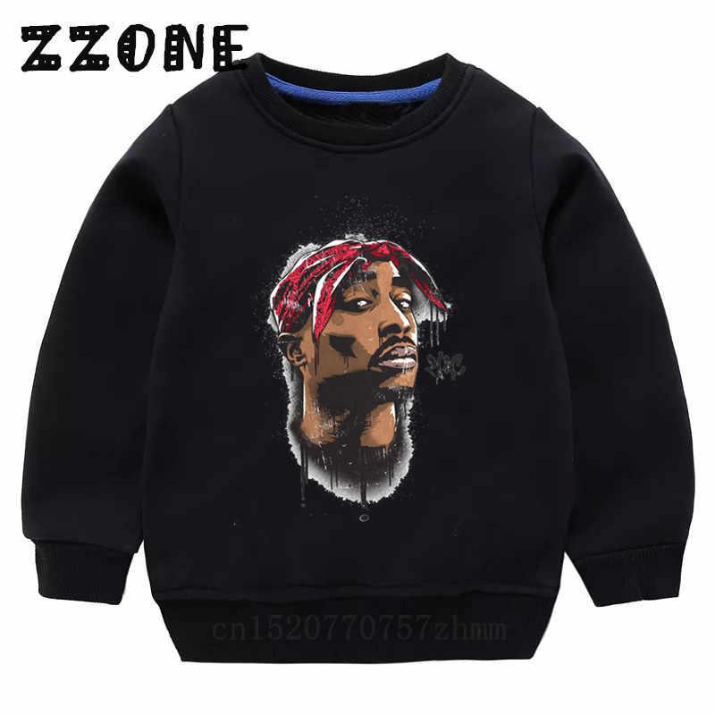 Sudaderas con capucha para niños Tupac 2pac Hip Hop Swag Sudaderas bebé algodón Pullover Tops niñas niños ropa de otoño, KYT287