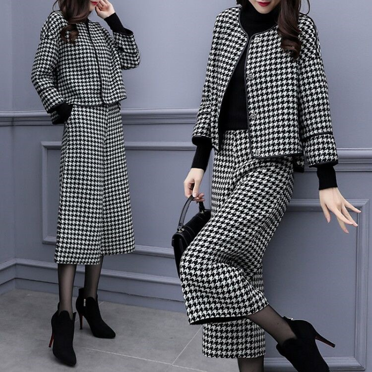 Image 2 - 2019 Autumn Winter Houndstooth Two Piece Sets Outfits Women 