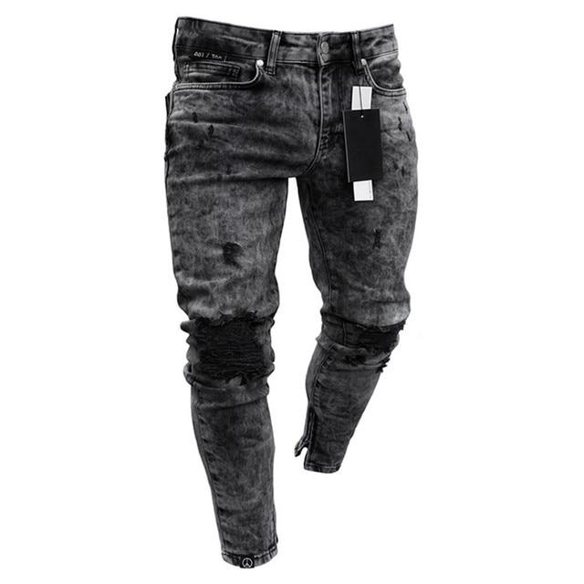 Biker Jeans Men's Distressed Stretch Ripped Biker Jeans Men Hip Hop Slim Fit Holes Punk Denim Jeans Cotton Pants Zipper jeans 5