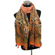 Vintage Summer Travel Party Scarf Ethnic Style Wild Paisley Print Scarf Shawl paisley print frayed trim scarf