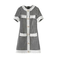 Banulin 2019 New Fashion Summer Dress Women Elegant Vintage Houndstooth Dresses Ladies Runway Jacquard knitting