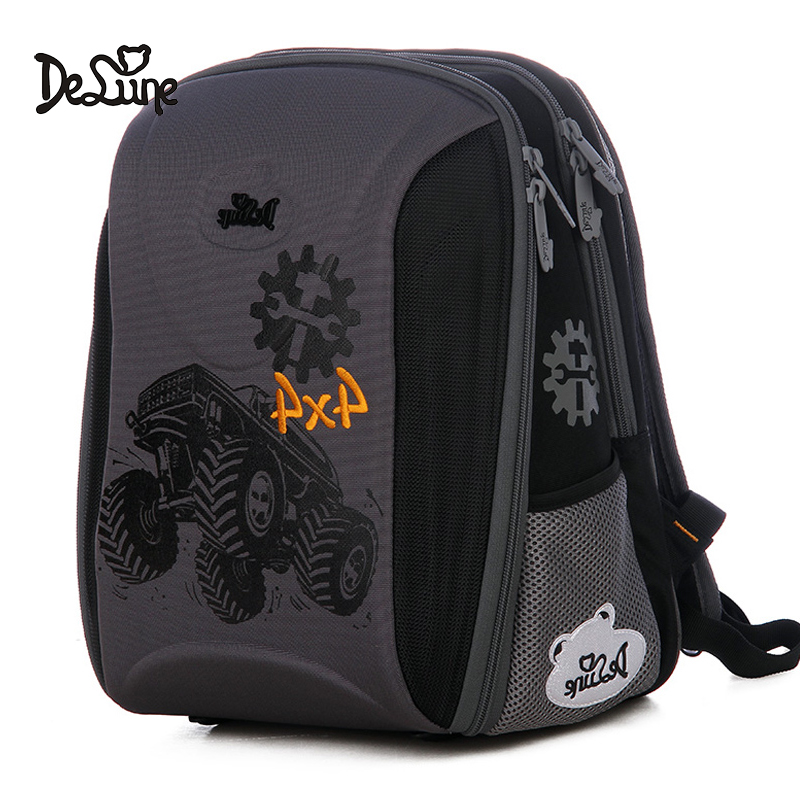 Delune New Car Pattern School Bags For Boys Girls Large Cartoon Backpack Children Orthopedic Backpacks Mochila Infantil Age 5-8