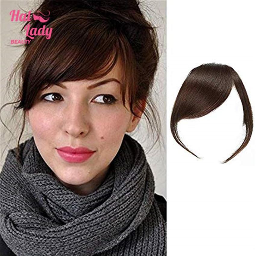 Halo Lady Beauty-Extensions de cheveux naturels brésiliens Non remy épais à clips, franges latérales lisses