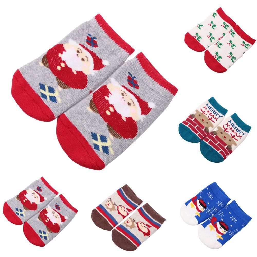 Baby Christmas Socks Newborn Baby Boys Girls Winter Socks Infant Cotton Cartoon Warm Anti Slip Socks Suit For 0-2 Years