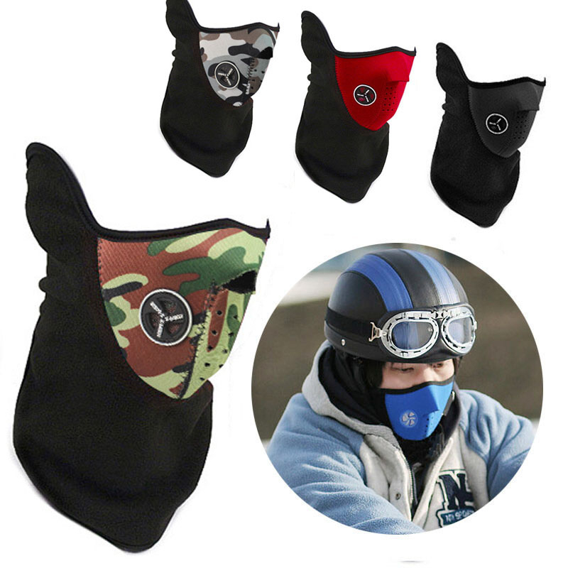 Hot Wool Cap, Collar, Winter Sports Warm,ski Bicycle Helmet,camouflage Mask Motorcycle Riding Mouth Face Shield Biker