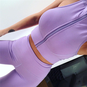 Image 4 - GXQIL Workout Sport Clothes for Women Sportswear 2020 Sport Gym Set Women Fitness Suit Dry Fit Ensemble Sport Femme Purple Kit