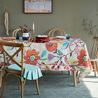 Floral Linen Wedding Tablecloth Dining Table Cover Cloth Marriage Homewarming Gift Party Rectangular