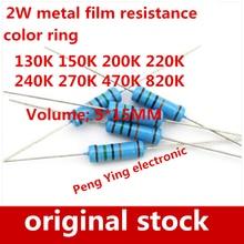 80 unids/lote 2W resistencia de película metálica kit con 8 valores cada 10 130K 150K 200K 220K 240K 270K 470K 820K anillos de color