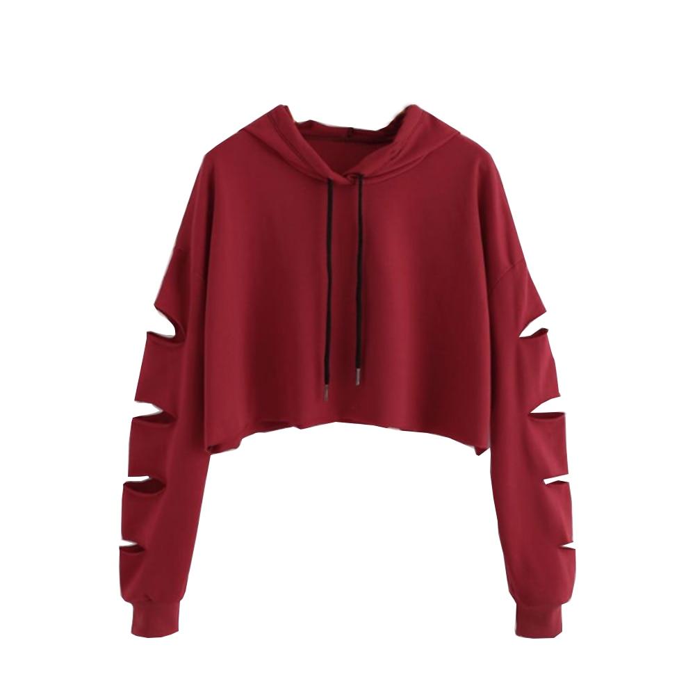 Jaycosin Women Fashion New Look Hollow Long Sleeve Sweatshirt Special Perfect Ladies Short Casual Cool Chic Tops Shirt
