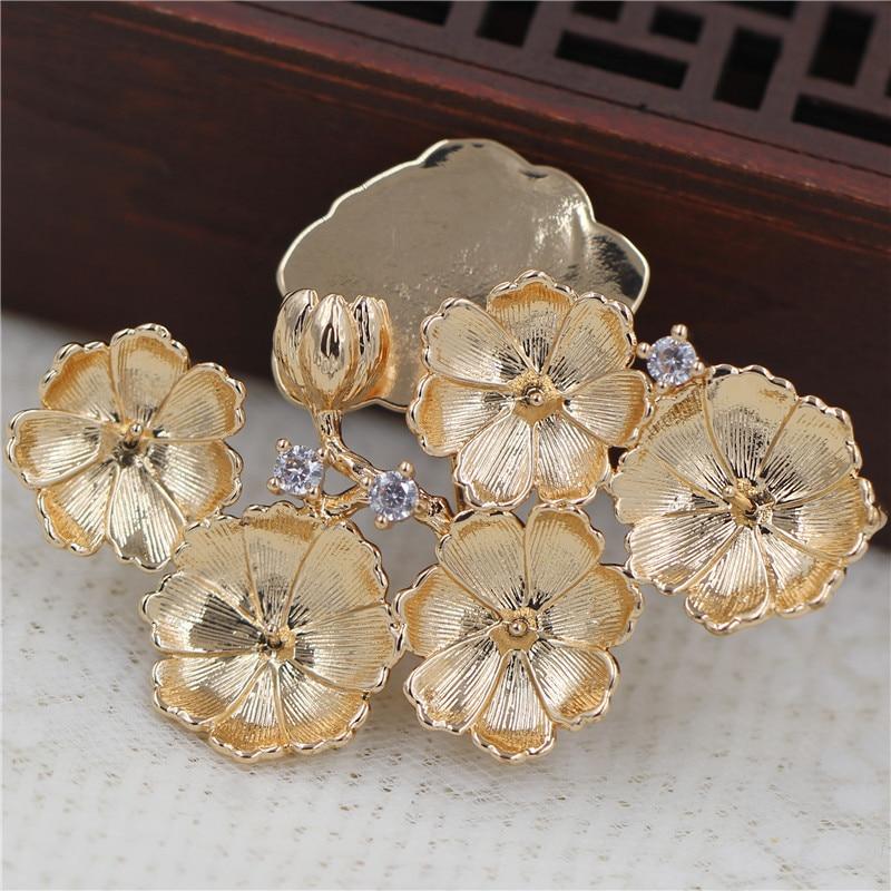 Brooch Blanks Blossom Brass Brooch Cabochon Brooch Pendant Brooch with Pearl Shell Flower Beads