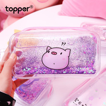 Mermaid cartoon pen case transparent glossy pencil girl holder bag suitable for school supplies cosmetic