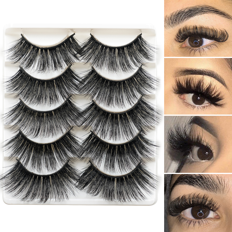 5Pairs 3D Mink Hair False Eyelashes Natural/Thick Long Eye Lashes Wispy Makeup Beauty Extension Tools