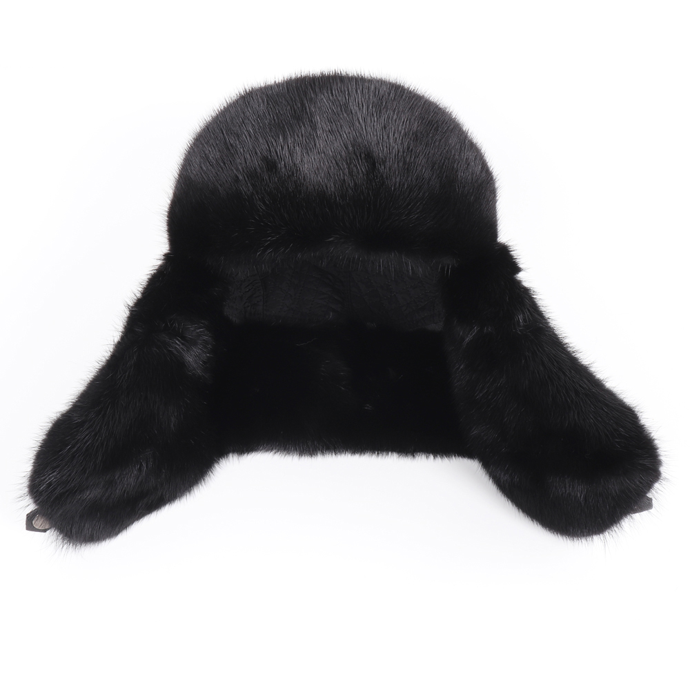 2019 New Winter Russian Men Real Mink Fur Bomber Hats Male Warm 100% Natural Mink Fur Hat Luxury Man Real Sheepskin Leather Cap 5