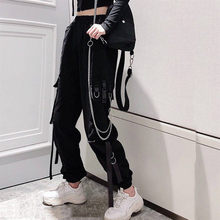 Women's Cargo Pants Buckle Ribbon Pocket Jogger Elastic Waist High Streetwear Harajuku Pant Punk Ring Chain Females Trousers2021
