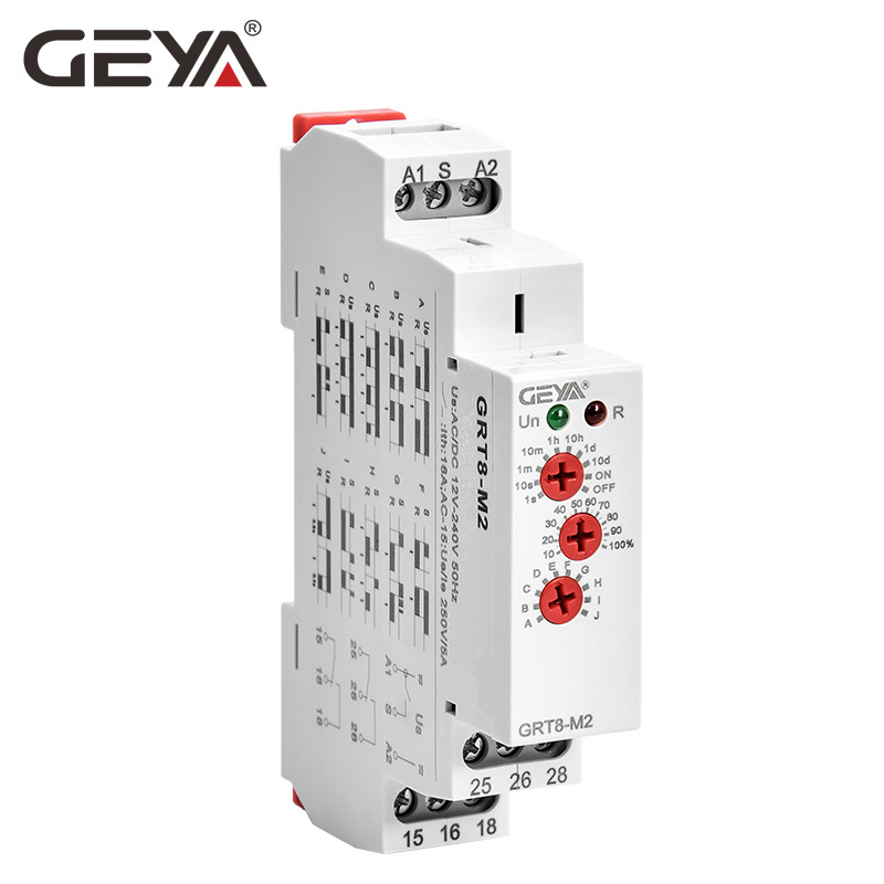 GEYA GRT8-M Adjustable Multifunction Timer Relay with 10 Function Choices AC DC 12V 24V 220V 230V Time Din Rail