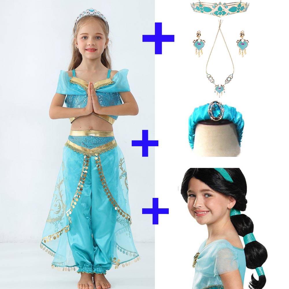 Movie Aladdin 2019 Girls Kids Princess Jasmine Cosplay Costume Halloween Princess Of Agrabah Jasmine Dance Dress Cosplay Outfit