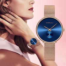 Zegarek damski moda Casual zegarki kwarcowe damskie CRRJU 2019 nowy minimalistyczny zegarek ze stali nierdzewnej dziewczyna zegar Relogio Feminin tanie tanio QUARTZ Składane zapięcie z bezpieczeństwem Ze stopu 3Bar Moda casual 16mm ROUND Odporne na wodę Hardlex 2165 25cm