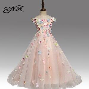 Платье с цветными аппликациями для девочек HT160, элегантное платье с вырезом-лодочкой и открытыми плечами, пышное платье для девочек, бальное...
