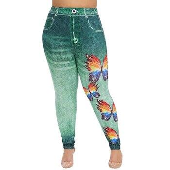 De moda de las mujeres de talla grande estampado de mariposa Vaqueros Slim elástico Mujer Denim Pantalones casuales Pantalones vaqueros pantalones de las mujeres