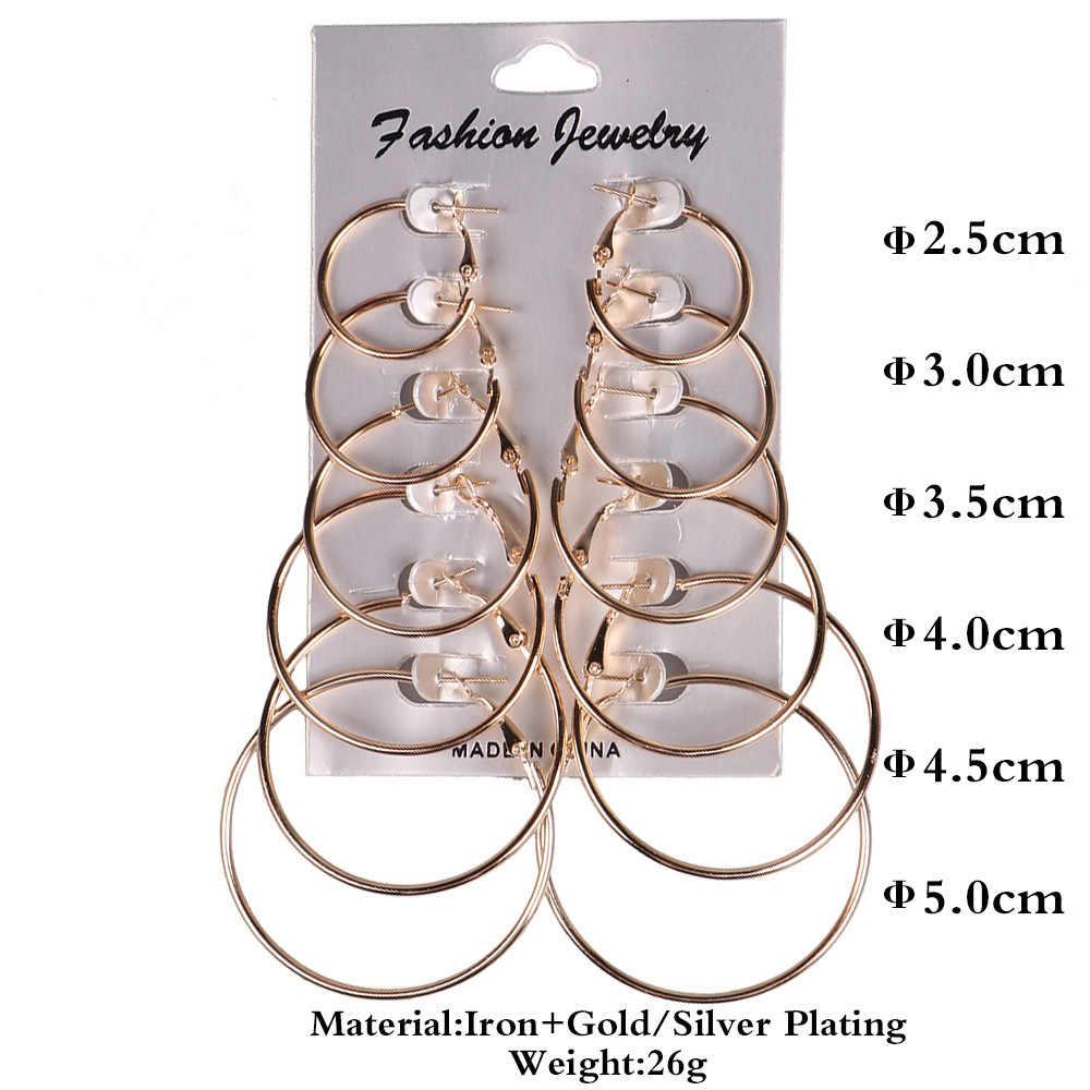6 זוגות\סט קטן זהב הצהרת עגילי גדול עגול כסף חישוק עגילי מעגלים נשים אישה אוזן הרבעה תכשיטי עגיל סטים