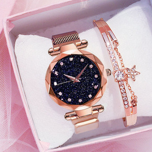 Simple 2019 Diamond Luxury Women Watches Starry Sky Rose Gold Magnet Mesh Band Rhinestones Quartz Wristwatch Ladies Female Watch(China)