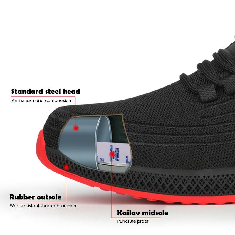 Top SaleYadibeiba Safety-Shoes Work-Sneakers Steel-Toe Breathable Puncture-Proof Men New Mesh