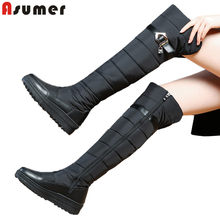 ASUMER Top qualität Kuh echtes leder winter schnee stiefel frauen zipper plattform stiefel fashion warm über die kniehohe stiefel frauen(China)