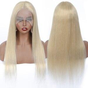 Image 2 - Brezilyalı düz 613 dantel ön peruk 150% yoğunluk 13x1 inç düz bal sarışın için dantel ön İnsan saç peruk kadın Jarin