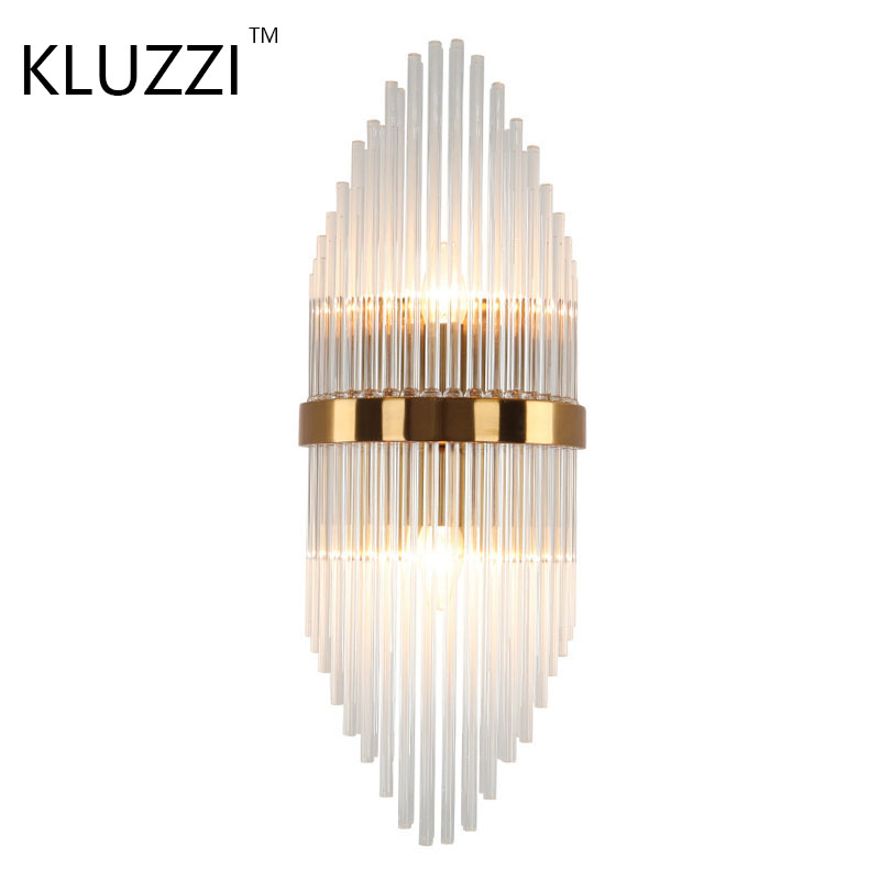 Kluzzi Golden Luxury Led Crystal wall sconce Decorative Bedside Reading Modern Led Crystal Wall Sconce Read Lamp Led Wall Light