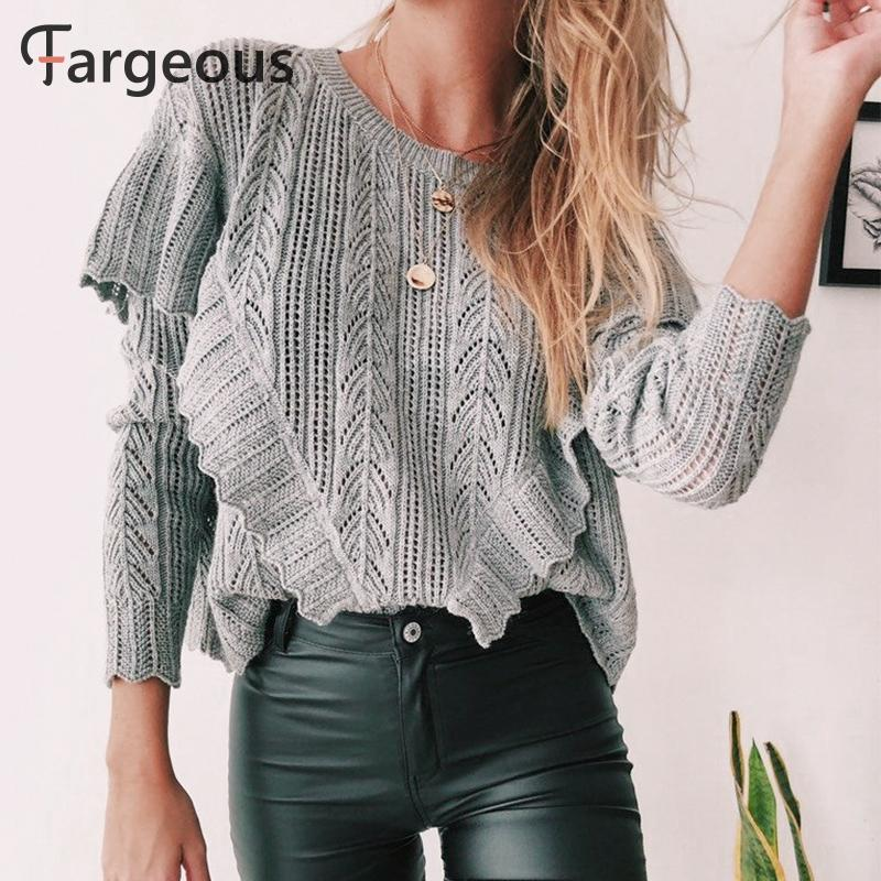 Fargeous Casual Knitted Grey Sweater Women Long Sleeve Ruffle Layered Pullover Autumn Winter Crop Jumper Fashion Streetwear 2019