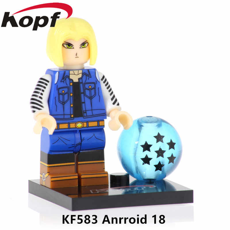 Venda única Goku Figuras de Ação Dragon Ball Z Android 18 Preto Rosa Klin Presente Coleção de Blocos de Construção Tijolos Brinquedos para Crianças KF583