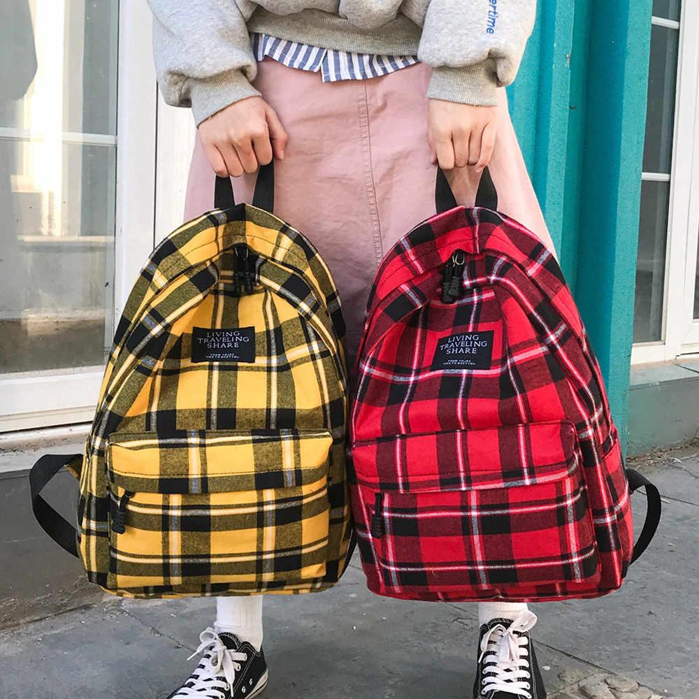 Moda plecak płócienny krata damska torba na ramię jednokolorowy plecak szkolny plecak młodzieżowy plecak damski Bagpack Mochilas