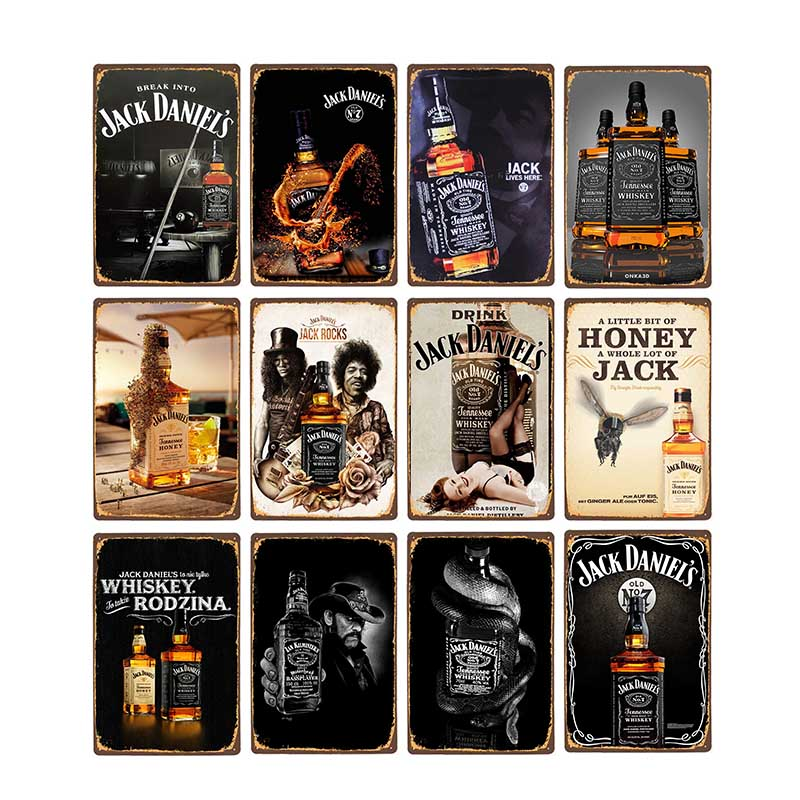 Whiskey Metal Tin Sign Jack Vintage Plaque Retro Pub Bar Pub Club Man Cave Decorative Wall Plates Home Decor 20x30cm(China)
