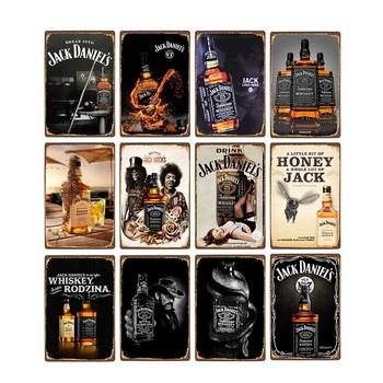 Whiskey Metal Tin Sign Jack Vintage Plaque Retro Pub Bar Club Man Cave Decorative  Wall Plates Home Decor 20x30cm - discount item  45% OFF Home Decor