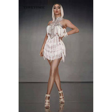 цена на Fashion Women Sexy White Fringes Dress Stretch Sleeveless Outfit stage Sexy Skinny Costume Birthday prom show One-piece Dress