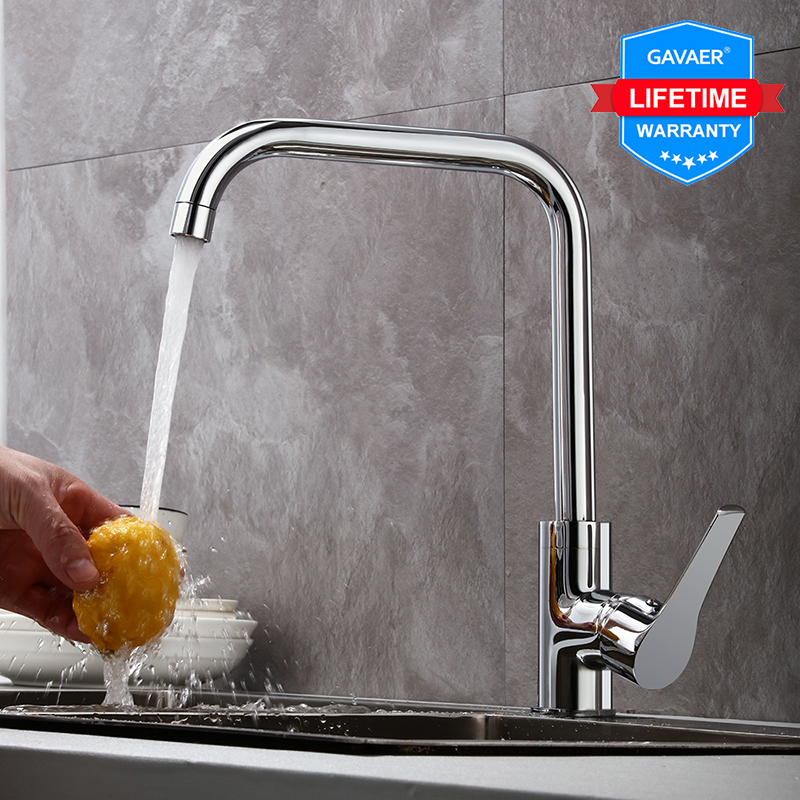 Gavaer Kitchen Rotation Faucet Brass Faucet Kitchen Sink Tap Drinking Filtered Water Kitchen Faucet Right Angle Design Hot&Cold