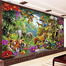 Big Size Diamond Painting 5D Animal World Tiger Elephant Diamond Embroidery Painting DIY Mosaic Gift Home Decor FF2748