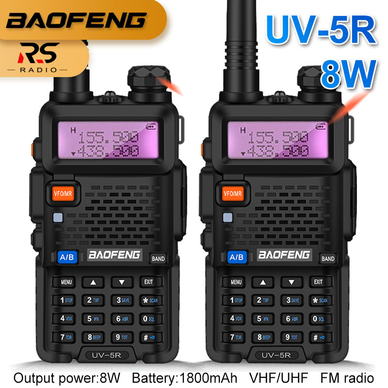 2PCS High Power 8W BAOFENG UV-5R Walkie Talkie Amateur Radio Station Dual Band VHF UHF Radio Transceiver Amador For Hunting 10KM