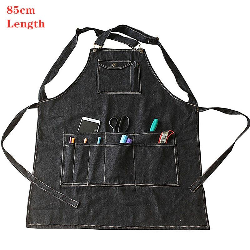 Pocket Denim Work Apron Men Women Ladies Adult Black Cafe Kitchen Cooking Home Garden Artist Jeans Denim Aprons Long Drawing