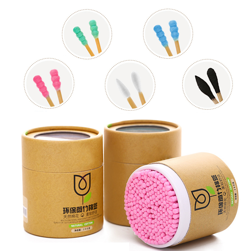 200pcs Cotton  Bamboo Handle Swab Makeup Cotton Buds Tip For Medical Nose Ears Cleanup Health Care Tools Disposable Cotton Swab