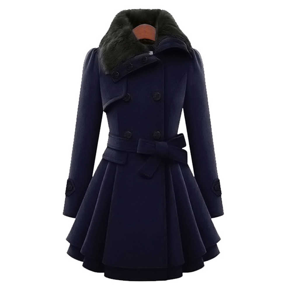 New Women's Woolen Coat Large Size 5XL Double-Breasted Slim Lapels Jacket Autumn Winter Long Section Fur Collar Ladies Wool Coat