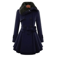 New Women's Woolen Coat Large Size 5XL Double Breasted Slim Lapels Jacket Autumn Winter Long Section Fur Collar Ladies Wool Coat